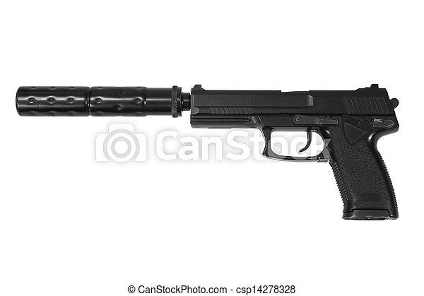 hangfogó, háttér, műtét, kézifegyver, fehér, különleges - csp14278328