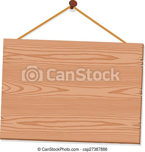 Hanging Blank Wooden Sign - csp27387886