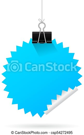 Hanging blue note paper - csp54272495