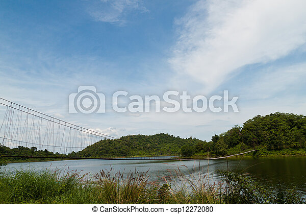 Hanging bridge in the forest  - csp12272080