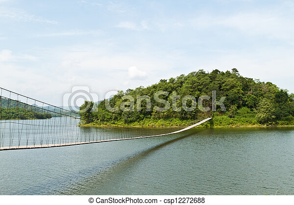 Hanging bridge in the forest  - csp12272688