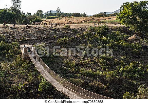 Hanging bridge over the Blue Nile in Ethiopia - csp70650858