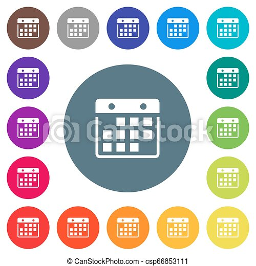 Hanging calendar flat white icons on round color backgrounds - csp66853111