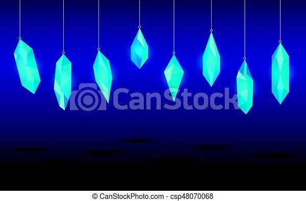 Hanging crystals. Minerals, design elements. Vector illustration - csp48070068