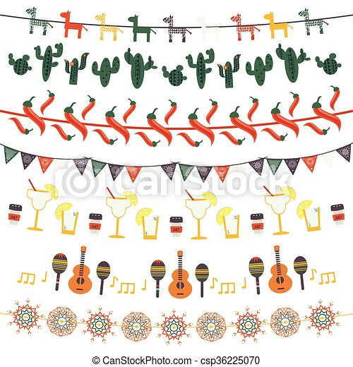 Hanging festive mexican banners, flags, garlands - csp36225070