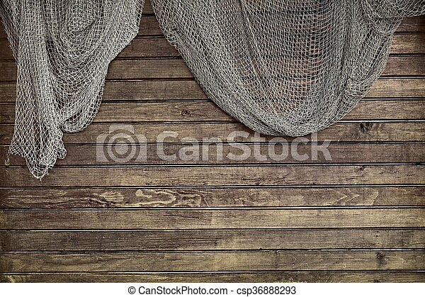 Hanging Fishnet On Rustic Wood Wall Hanging Fishnet On The Rustic