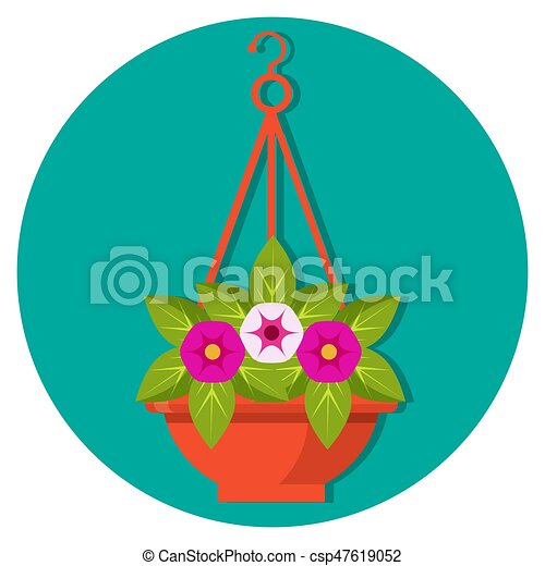 Hanging flower basket with petunias vector illustration isolated - csp47619052