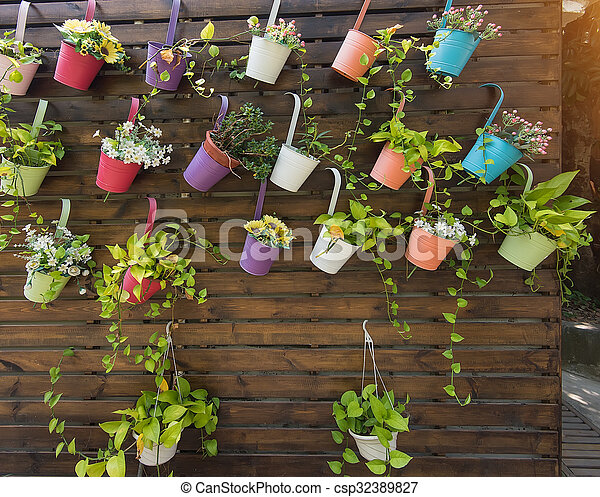 Hanging Flower Pots with fence - csp32389827