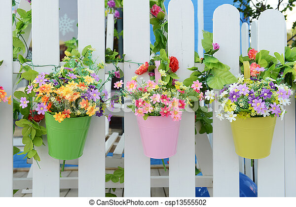 Hanging Flower Pots with fence - csp13555502