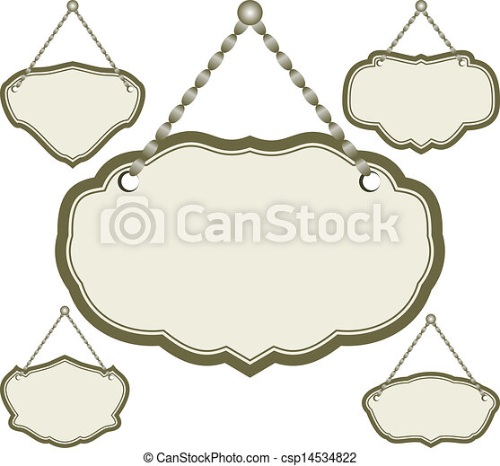 Hanging Frame Set Of Isolated Sign Vector Illustration