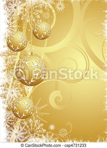 Hanging gold Christmas baubles - csp4731233