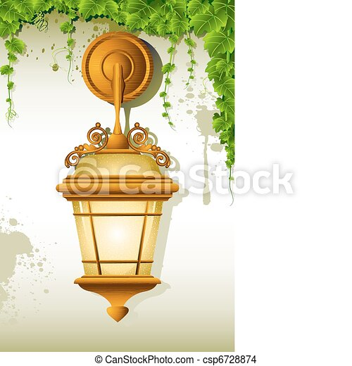 Hanging Lamp Illustration Of Old On Wall With Creeper