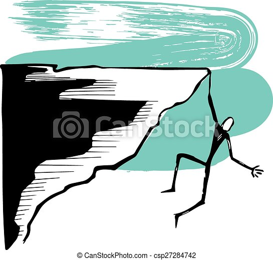 Hanging Man On A Cliff Hand Drawn Vector Illustration Or Drawing Of
