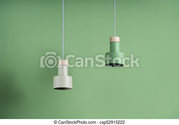 Hanging metal colorful lamps with wooden parts - csp52915222