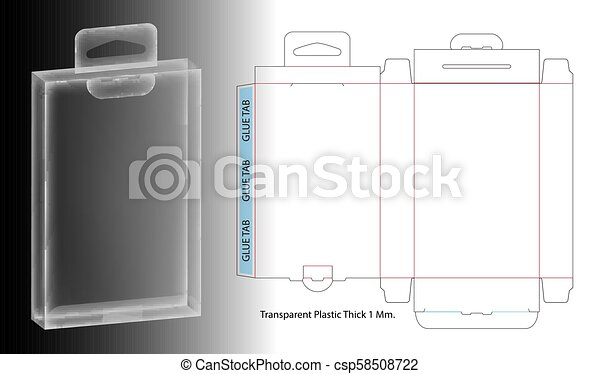 Hanging Plastic Box 3d Mockup With Dieline