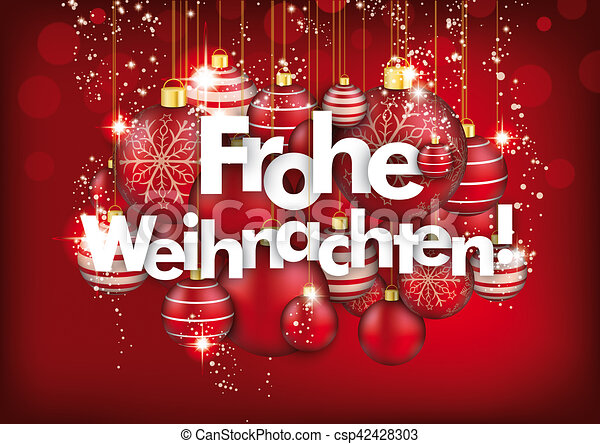 hanging red baubles frohe weihnachten red background. Black Bedroom Furniture Sets. Home Design Ideas