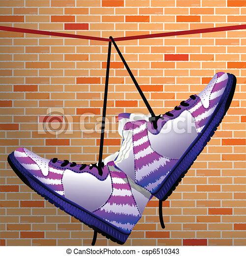 hanging shoes - csp6510343