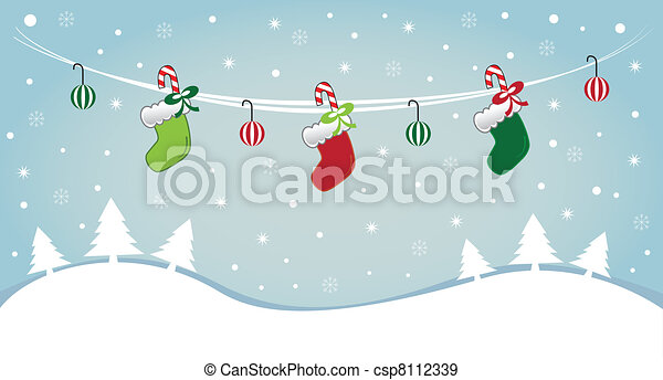 Hanging Stockings in Snow - csp8112339