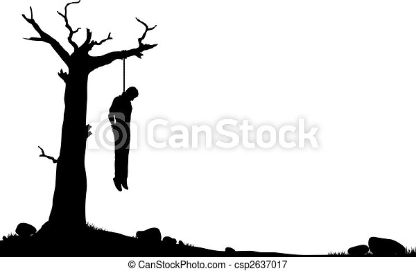 Hanging Tree Editable Vector Silhouette Of A Man Hanged From A Dead
