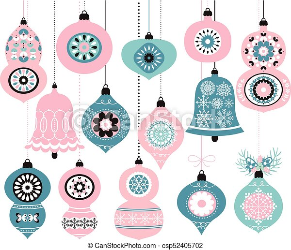 Christmas Ornament Vector.Hanging Vector Christmas Ornaments In Pink And Blue Colors For Greeting Cards Invitation And Holiday Decor