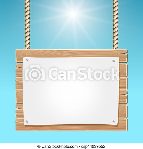 Hanging Wooden Blank Sign Board Blue Sky Wood Board With Clipart
