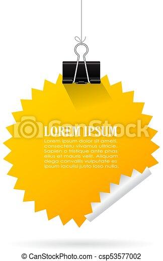 Hanging yellow note paper - csp53577002