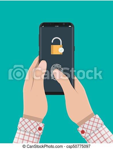 hangslot, smartphone, gesloten, vingerafdruk - csp50775097