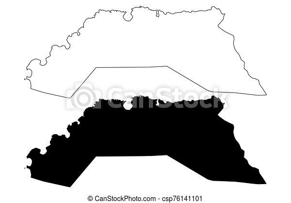 Hanover Parish (Parishes of Jamaica, Cornwall County) map vector  illustration, scribble sketch Hanover map
