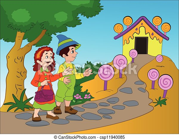 hansel and gretel illustration hansel and gretel finding a rh canstockphoto com Hansel and Gretel Cartoon hansel and gretel cartoon clip art