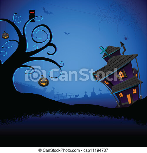 hanté, halloween, maison - csp11194707