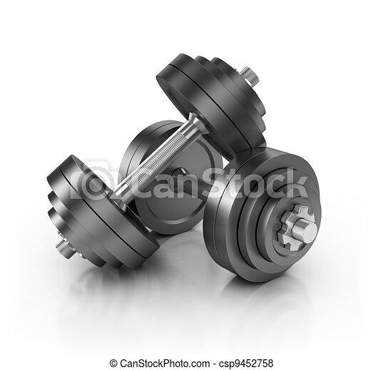 hantel, vikter, isolerat - csp9452758