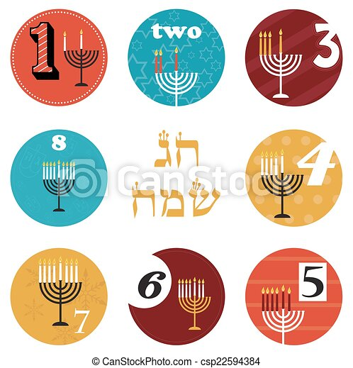 hanukkah, 8 candles for eight day holiday. happy holiday in Hebrew - csp22594384