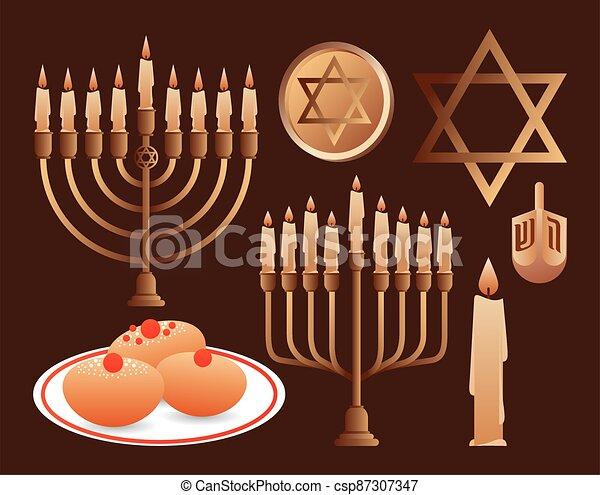 hanukkah, celebración, candelabrums, conjunto, feliz, iconos - csp87307347