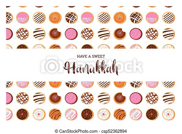 Hanukkah doughnut jewish holiday symbol sweet traditional bake hanukkah doughnut jewish holiday symbol sweet traditional bake greeting card csp52362894 m4hsunfo