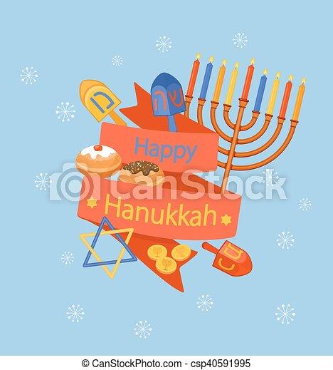 Feliz tarjeta de felicitación Hanukkah. - csp40591995
