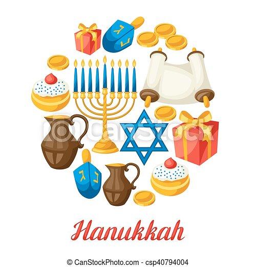 Tarjeta de celebración judía de Hanukkah con objetos festivos - csp40794004