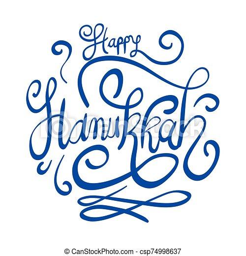 hanukkah, letras, feliz, icono, celebración - csp74998637