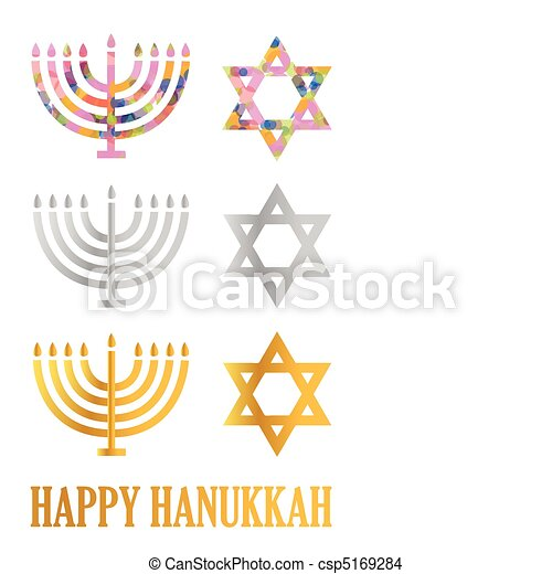 Hanukkah menorah and David's star - csp5169284