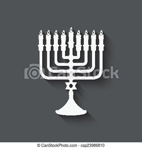 Hanukkah menorah symbol - csp23986810