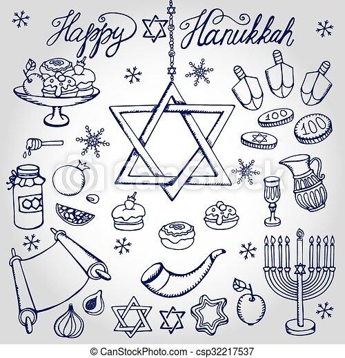 Hanukkah Symbolsodle Linearjewish Holiday Set Hanukkah Symbols