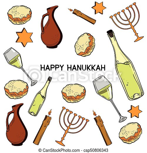 Hanukkah Traditional Jewish Holiday Symbols Set Israel Festival
