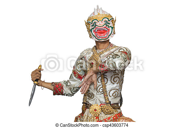 Hanuman mask in Thai classical style of Ramayana story