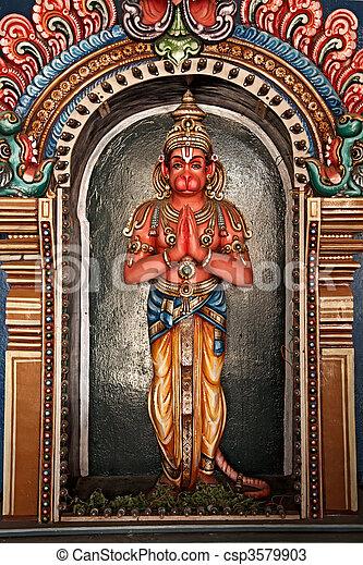 Hanuman statue in Hindu Temple. Sri Ranganathaswamy Temple. Tiruchirappalli (Trichy), Tamil Nadu, India - csp3579903