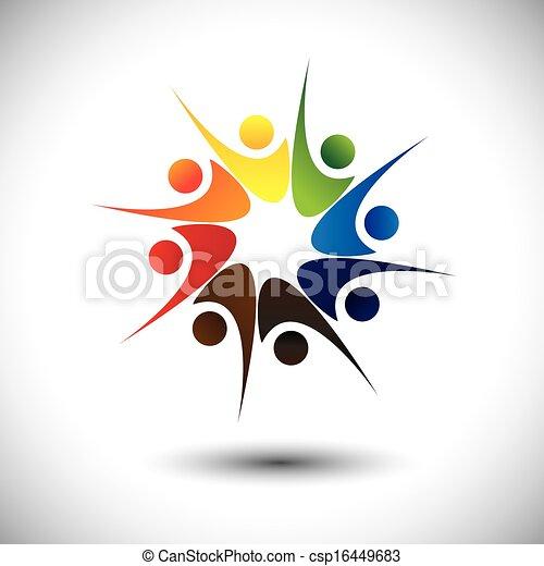 happiness., conceito, &, alegria, empregados, compartilhar, amigos, ou, feliz - csp16449683
