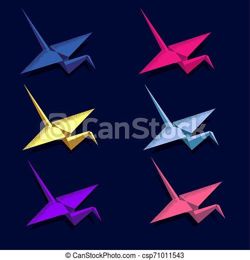 Origami Crane volando neón isometrico. Mensaje de regalo. Deseo felicidad. Icon - csp71011543