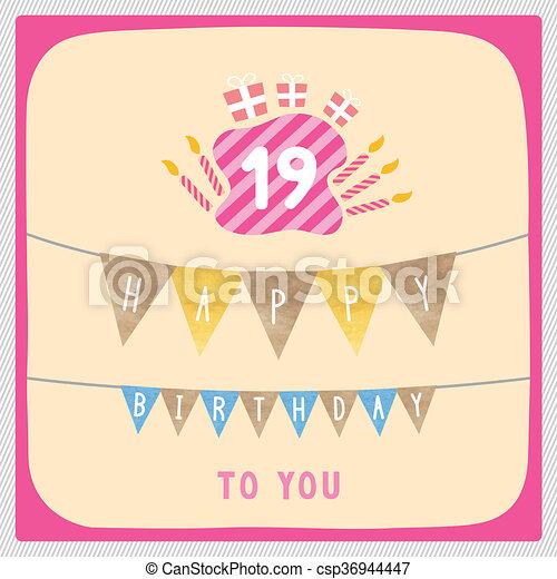 Happy 19th Birthday Card Happy 19th Birthday Anniversary Card With