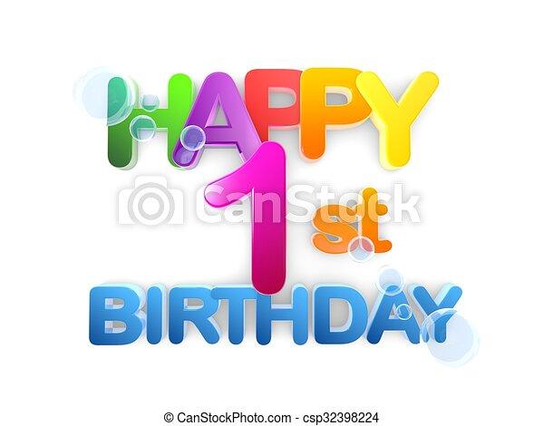 Happy 1st Birthday Title, light - csp32398224