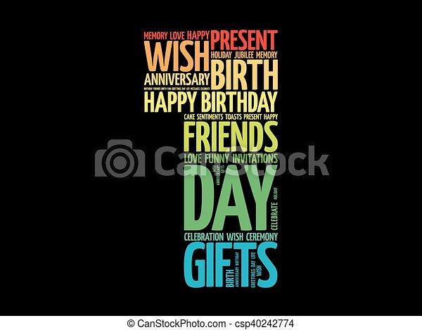 Happy 1st birthday word cloud - csp40242774