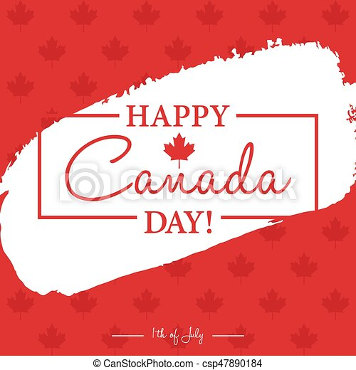 Happy 1th of July Canada Day card or background with Maple leaf. - csp47890184