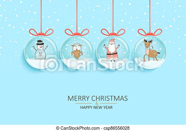 Hanging Banner Images Merry Christmas & Happy New Year 2021 Happy 2021 New Year With Symbols In Snow Globes Happy 2021 New Year Wishing Merry Christmas With Santa Reindeer Snowman Canstock